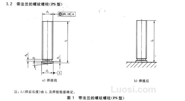 GB/T 902.4-2010 短周期电弧螺柱焊用焊接螺柱(带法兰的螺纹螺柱 PS型)